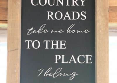 country raods sign treehuggers farm gift store